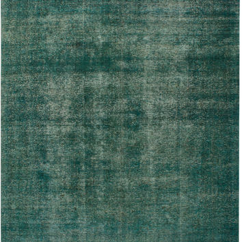 """9'2"""" x 11'9"""" Green Vintage Persian Overdyed Rug"""