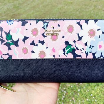 Kate Spade Cameron Street Lacey Large Zip Around Wallet Floral Multi