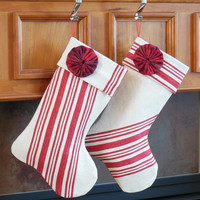Elegant Holiday Decor Christmas Stockings French Grain Sack Stripe Red Plaid YoYo Rosette