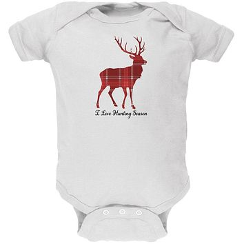 Deer Buck I Love Hunting Season Plaid Soft Baby One Piece