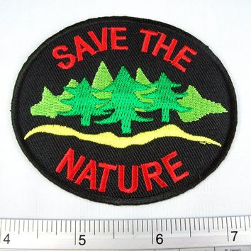Save The Nature Forest Trees Embroidered Iron on Patch DIY T-shirt 2.25x3""