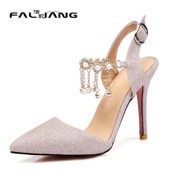 Big Size 11 12 13 14 15 16 Wedding Thin Heels Slingbacks Crystal Buckle Women's Shoes