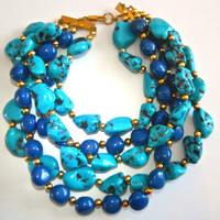 Massive Faux Turquoise Lapis Necklace, PAOLO BELLINI, 5 Multi Strand, Runway, Vintage