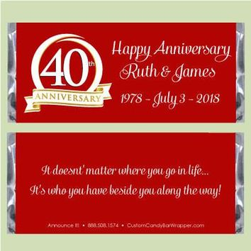 40th Anniversary Candy Bar Wrappers