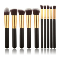 10 Piece Pro Makeup Brush Set  (Black and Gold)