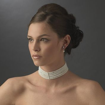 Faux White Pearl Multi - Layered Choker Necklace
