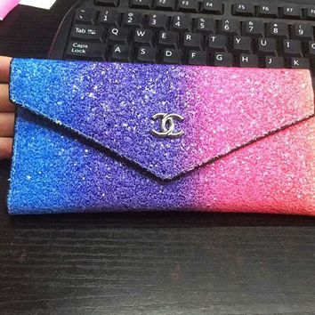Chanel Fashion Women Wallet Rainbow Shining Squein Bag   Multicolor