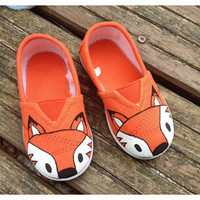 Bright orange fox canvas shoes, baby toddler, UK seller, sizes 2jnr to 12 jnr (UK sizes)