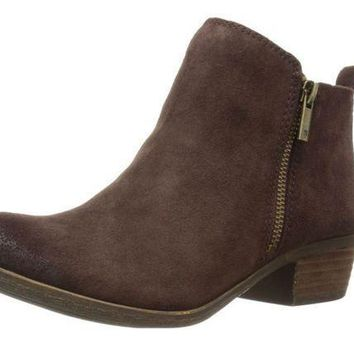MDIGYW3 Lucky Brand Basel Java Oiled Suede Booties