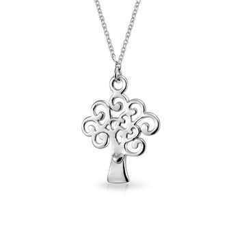 Wishing Tree Of Life Pendant Celtic Swirl Necklace Sterling Silver