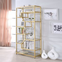 Acme Furniture Lecanga Clear Glass and Goldtone Metal Bookshelf | Overstock.com Shopping - The Best Deals on Media/Bookshelves