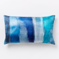 Cloudy Abstract Silk Pillow Cover - Blue Teal