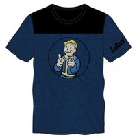 Fallout Men Adult Blue And Black Yoke Tee Bioworld Officially Licensed New