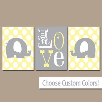 Yellow Gray Elephant Wall Art Nursery Canvas Artwork Boy Girl Child Twins LOVE Polka Dots Custom Colors Set of 3 Prints Three