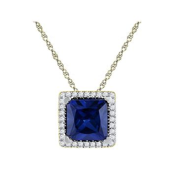 10kt Yellow Gold Women's Princess Lab-Created Blue Sapphire Solitaire Diamond Pendant 1-7-8 Cttw - FREE Shipping (US/CAN)