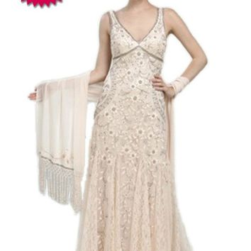 Sue Wong N1118 Gorgeous Antique Embroidered Beige Wedding Gown - Size 8