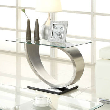 Homelegance Silvera Rectangular Glass End Table w/ Brushed Chrome Base