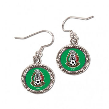 Mexican National Soccer Earrings Round Style