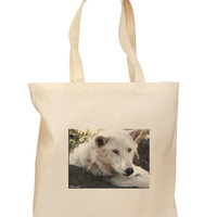Laying White Wolf Grocery Tote Bag - Natural