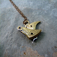 Clockwork Bird Pendant Lark Intricate Engraved by amechanicalmind