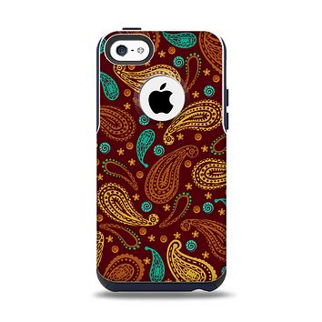 The Brown & Gold Paisley Pattern Apple iPhone 5c Otterbox Commuter Case Skin Set