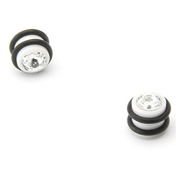 White Magnetic Design - Acrylic Fake Plugs With Stone - Cheaters - 0G Gauge - 8mm