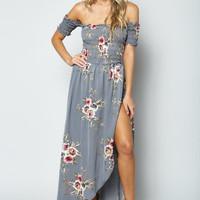 Gray Off Shoulder Floral Print Maxi Dress