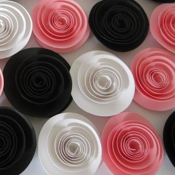 "Set of 12 Pink Black and White paper flowers, small 1.5"" quilled roses, table top decorations for wedding and showers, Way to go gift idea, congratulations, Graduation Party decor"