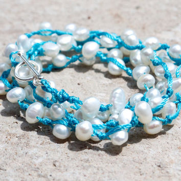 Pearl wrap bracelet Sky blue layering bracelet Sterling silver bar clasp 925 toggle Aqua knotted necklace Beach jewellery Teenage girl gift