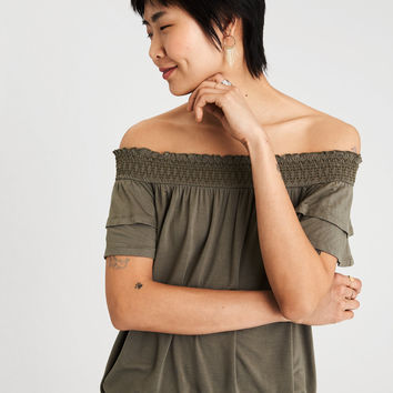AE SOFT & SEXY OFF-THE-SHOULDER T-SHIRT, Olive