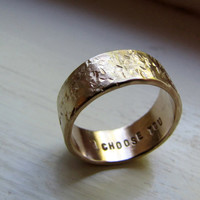 Unique Wedding Ring Men's 14k Gold Rustic Distressed by tinahdee