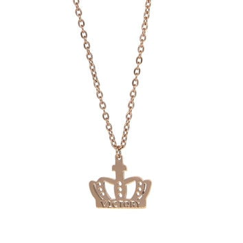 Dear Deer Stainless Steel Victory Crown Pendant Necklace Rose Gold Tone