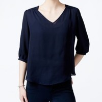 BCX Juniors' Three-Quarter-Sleeve Lace-Back Blouse | macys.com