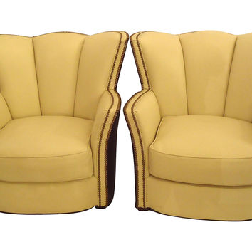 Art Deco Leather Tulip Club Chairs, Pair