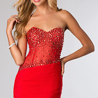 Short Strapless Corset Style Dress from JVN by Jovani