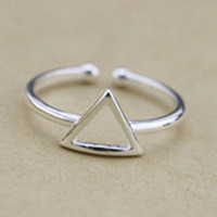 Silver Triangle Open Ring