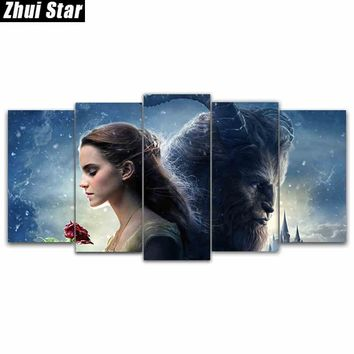 """Zhui Star 5D DIY Full Square Diamond Painting """"beauty beast"""" Multi-picture Combination Embroidery Cross Stitch Mosaic Decor gift"""