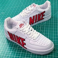 Nike Air Force 1 Upstep Lx Af1 White Red Sneakers Shoes - Best Online Sale