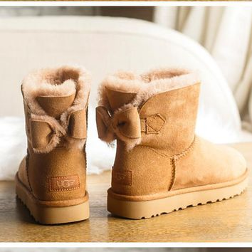 UGG Women male Fashion Wool Snow Boots Chestnut