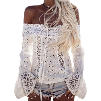 Long Flare Sleeve Slash Neck Shirts Sexy Cut Out Blouse Casual Off Shoulder