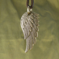 Angel Wing Necklace Bronze Angel Wing Pendant on by LostApostle