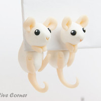 Mouse Two-Part Earrings, Fake Gauges, Gift for Pet Lover, Personalized Earrings, Made-to-Order