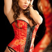 Leather and Brocade Kelly Corset