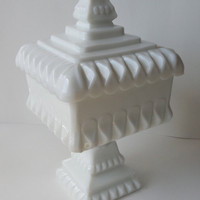Vintage Square Milk Glass Pedestal Candy Dish,  50's White Glass Tall Covered Dish, Compote with Simple Design