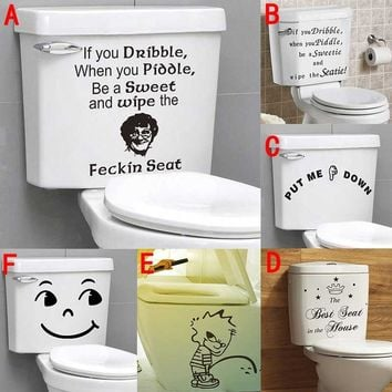 If You Dribble English Letters Put Me Down Funny Toilet Stickers Vinyl Art Wall Decor Waterproof Home Decal for WC Diy