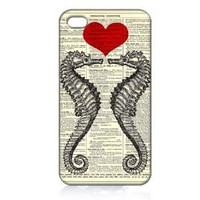 Seahorse Love Hard Case Skin for Iphone 4 4s Iphone4 At&t Sprint Verizon Retail Packing.