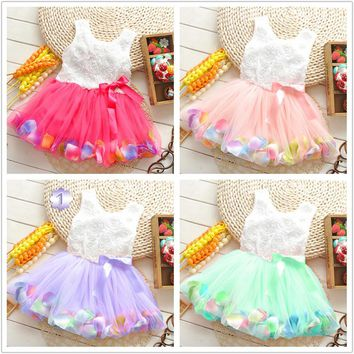 Hot Sales Cheap price promotion 0-2 years old summer wear infant multicolor color small petals flowers Princess Dress Girls