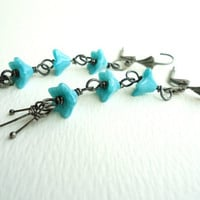 Long Teal Flower Chain Dark Silver Earrings With Dangly Stamen