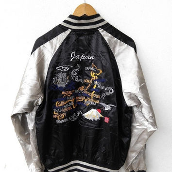 CRAZY SALE 25% SUKAJAN By Studio Hiro Vintage 80's Japanese Eagles Korean War Hawaii Iwojima Embroidery Souvenir Black Varsity Satin Jacket