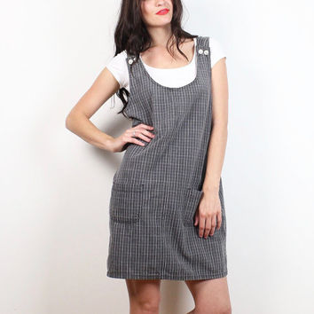 Vintage 90s Dress Charcoal Gray White Plaid Shift Overalls Mini Dress Soft Grunge 1990s Cotton Pinafore Overall Jumper M L Extra Large XL
